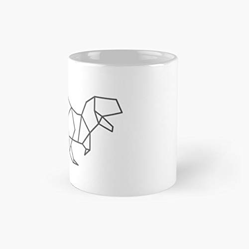 Geometric Origami Dinosaur Classic Mug A - Novelty Ceramic Cups Inspirational Holiday Gifts For Men & Women, Him Or Her, Mom, Dad, Sister, Brother, Coworkers, Bestie.