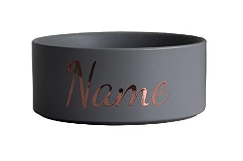Paw Companion Futternapf Napf Wassernapf Keramik für Hunde, Katzen, Haustiere mit Namen oder Wunschtext personalisiert, 3 Größen, grau M (850 ml)