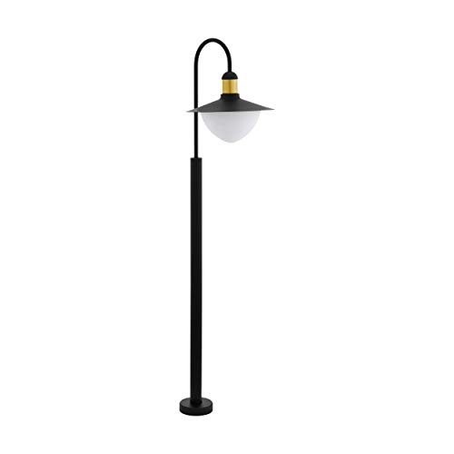EGLO Lámpara de pie para exteriores Sirmione, 1 foco, lámpara de pie de acero galvanizado, cristal blanco, opalino mate, color: negro, dorado, casquillo: E27, IP44