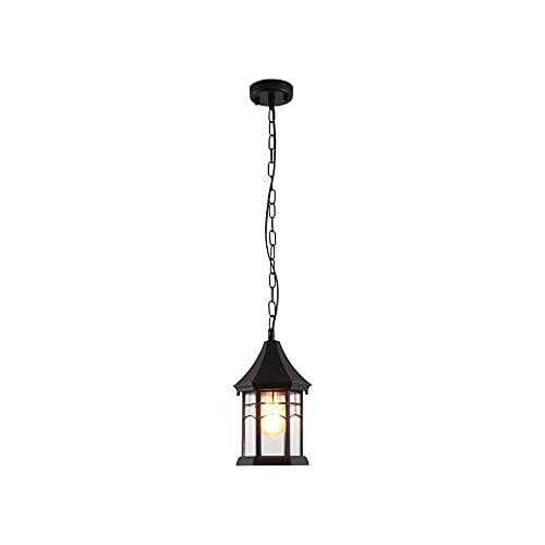 Retro colgante lámpara sombra araña ip65 impermeable colgando linterna luz, vintage luces de techo exterior exterior arena con textura negra con agua ondulada vidrio