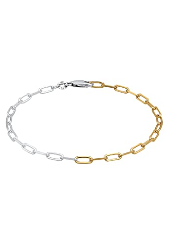 Elli Pulseras Collar de eslabones para señoras Ovalado Básico Ajustable Bicolor en plata de ley 925 bañada en oro