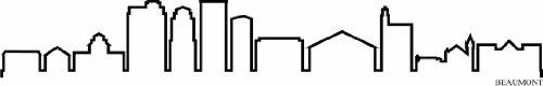 Indigos UG – Sticker mural autocollant – Sticker mural – f1249 Skyline Ville – Beaumont (États-Unis – United States) Design 4–80 x 13 cm – Noir – Déco