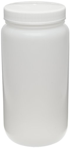 Nalgene 2124-0005 Fluorinated HDPE 2L Wide-Mouth Bottle with Fluorinated Polypropylene Screw Closure