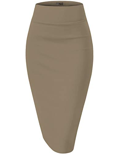 Womens Pencil Skirt for Office Wear KSK45002X 1073T Taupe 1X