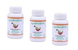 Ayurshreshtha, Curcumin (95%) Extract with Piperine(5%) Organic Turmeric Veg Capsules 60 tab Non-GMO & Gluten Free (Pack of 3)