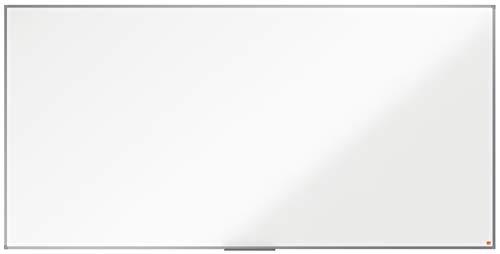 NoboPizarra No Magnética de Melamina, 2400 x 1200 mm, Marco de Aluminio, Fijado a la Pared con Montaje en las Esquinas, Bandeja para Rotuladores, Gama Essence, Blanco, 1915223