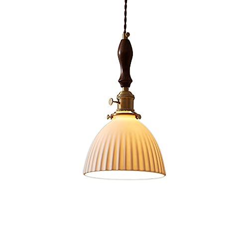 DSYADT Accesorio de luz Colgante rústico nórdico - Pantallas de lámpara de Madera de Nogal de cerámica de Metal para Luces de Techo E27 Kit de Pantalla de Rosa de Techo para Isla de Cocina Casa