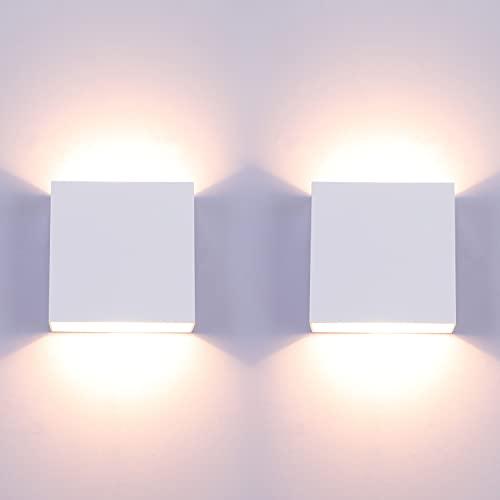 Lampada da Parete Led Interno, 2 Pezzi Bianco Caldo LED Applique da Parete Moderna,Up Down Lampada a Muro in Alluminio, Perfetto per Soggiorno Corridoio Bagno [Classe di efficienza energetica A++]