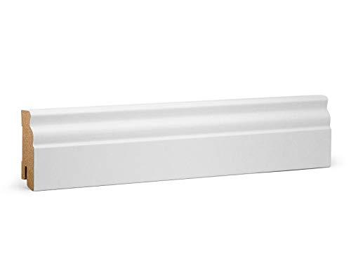 Vorteilspack Hamburger (Berliner) Sockelleiste | ECO MDF Folie weiß | 2200 x 19 x 60 mm | Inhalt 10 Stück KGM Sockelleisten