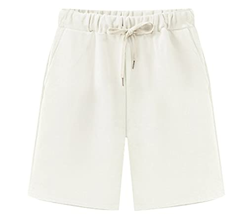 Vcansion Women's Elastic Waist Soft Knit Long Jersey Bermuda Shorts with Drawstring White Tag 5XL/US 16-18