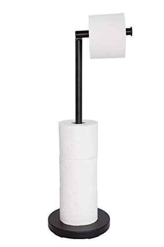 KOOK TIME portarrollos para Papel higiénico de pie - Metal Lacado Negro Mate - Dia. 18 cm v Al. 56 cm - Soporte Papel higiénico para Cuartos de baño. Accesorio de baño Negro.