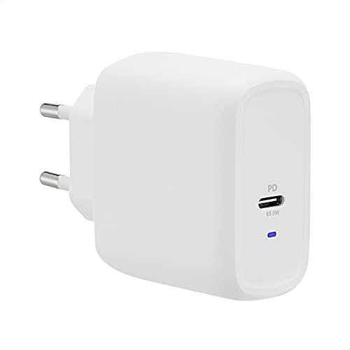 Amazon Basics - Cargador de pared con un puerto USB, de 65W, con tecnologías GaN y protocolo de carga Power Delivery, para portátiles, tabletas y móviles, color blanco