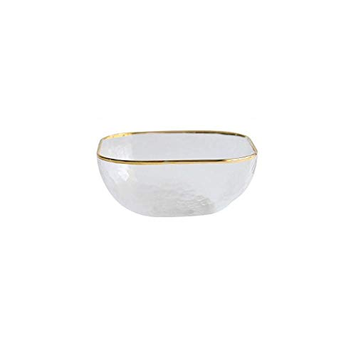 Ykun Tazón de Comida Occidental de Cristal de Lujo Ligero Cuadrado, ensaladera, tazón de Sopa, tazón Creativo, Estilo de Moda-Cuenco Mediano Cuadrado