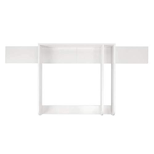 Puckdaddy Wickelaufsatz mit Blende Matz – 160x80x10 cm, Wickelauflage aus Holz in Weiß, hochwertiger Wickeltischaufsatz mit Trennfach passend für alle IKEA Hemnes Kommoden, inkl. Wandbefestigung