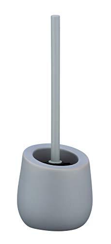 WENKO WC-Garnitur Badi - WC-Bürstenhalter mit Silikonborsten und Randreiniger, Keramik, 13,5 x 38 x 13,5 cm, grau