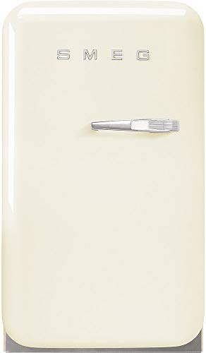 """Smeg FAB5ULCR3 16"""" 50's Retro Style Series Compact Cooler with 1.5 cu. ft. Capacity Absorption Cooling Automatic Defrost LED Interior Lighting and Adjustable Shelves Cream, Left Hand Hinge"""