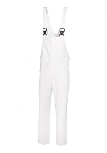 BP 1681-750-21-Sn Unisex Arbeits-Latzhose, mit elastischer, verstellbarer Taille, 250,00 g/m² Verstärkte Baumwolle, weiß, Sn