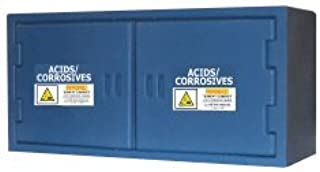 SECURALL PE3045 Polyethylene Cabinet for Harsh Acid/Corrosive Storage Cabinet for Misc Sized Containers, 18 x 38 x 13 in, 2 Door, FM Approved, OSHA/NFPA Comp, 15 YR Warranty - Blue