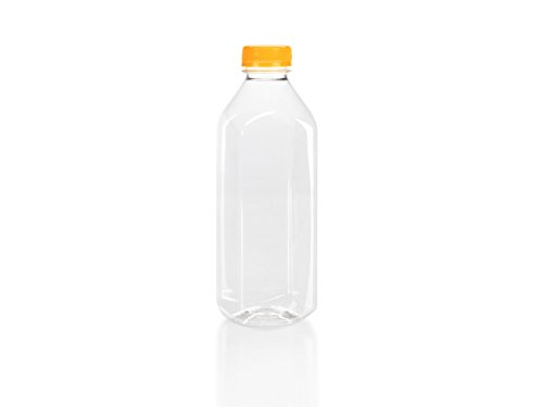 (6) 32 oz. Clear Food Grade Plastic Juice Bottles with Orange Tamper Evident Caps 6/Pack