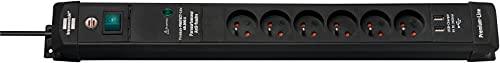 Brennenstuhl - Regleta de 3 m de Cable, 2 Puertos USB 5 V/3,1 A, Color Negro