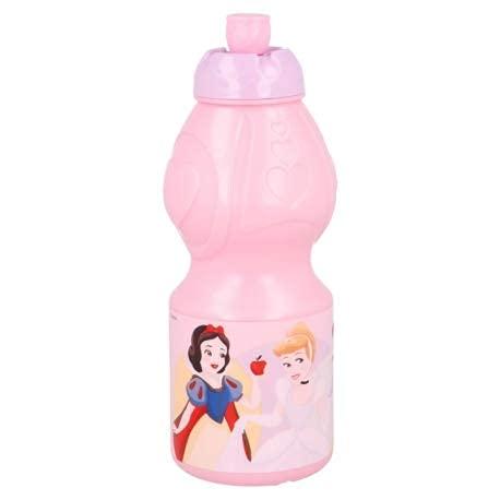 Borraccia Sport in plastica Bottiglia per Bambini 400ML con beccuccio retraibile (Principesse Princess)