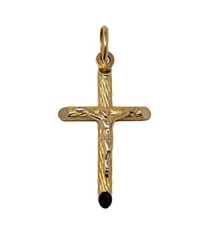 Cruz colgante clásico de oro amarillo de 18 quilates 750 media tubular bautizo con borde rugoso y Jesús para hombre y mujer unisex