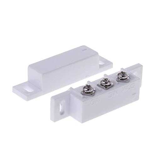 DealMux NC NO Interruptor de contacto magnético Sensor de puerta Sistema de alarma para el hogar con puerta enrollable de metal con cable