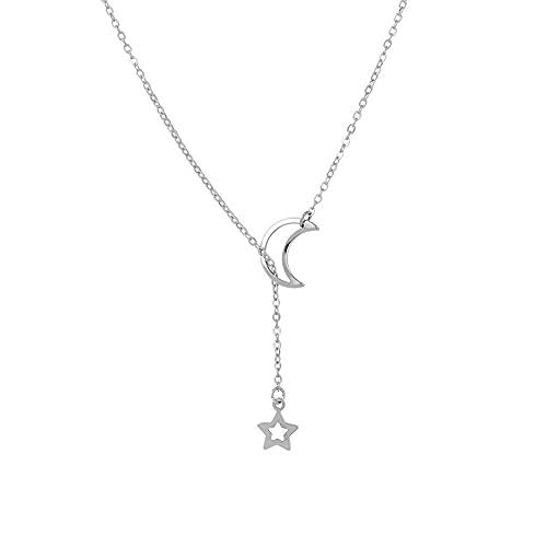 Collar para mujer Collares gargantilla clavícula Collar personalizado con colgante de estrella de la luna Regalos de bisutería para mujer