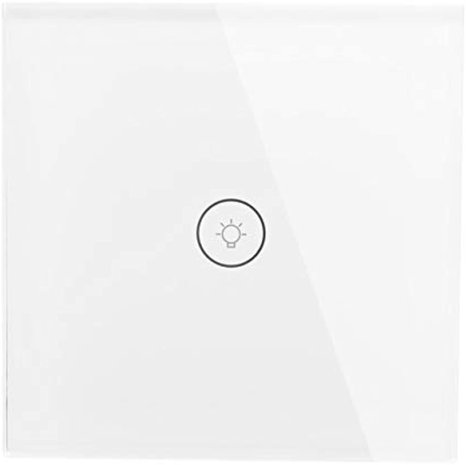 EU UK Smart Light Touch Switch 1 2 3 Gang Wall Switch Touch WiFi Voice APP Smart Home Controller Compatible with Alexa Google Home  (color  EU Type 1 Gang White)