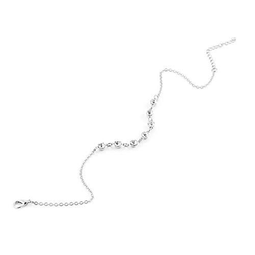 Fußkettchen mit 7 leuchtenden Diamanten Fashion Beach Einfache Fußkettchen Schmuck für Frauen 2018 Mode Vintage Handmade Ideal Geschenk - Silber