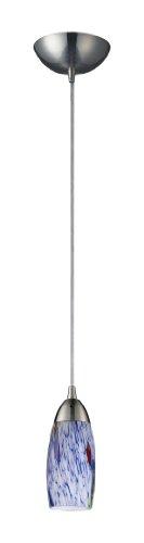 Elk 110-1BL Milan Light Pendant, 3 x 7-inch, Satin Nickel And Starlight Blue Glass