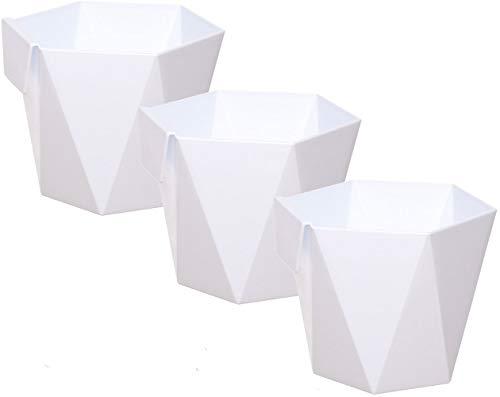 idea-station macetas plastico 3 Piezas, 13 cm, Blanco, Plaza, pequeñas, maceteros, jarrones, Decorativas, pequenas, Interior, Exterior, inastillable