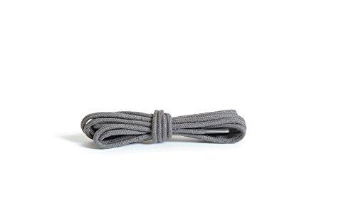 Kaps runde dünne Schnürsenkel, 2 mm breit, 100% Baumwolle, hochwertige Qualität für Freizeit- und Modeschuhe - 1x Paar in vielen Farben und Längen (90 cm - 5 to 6 Ösenpaare),grau
