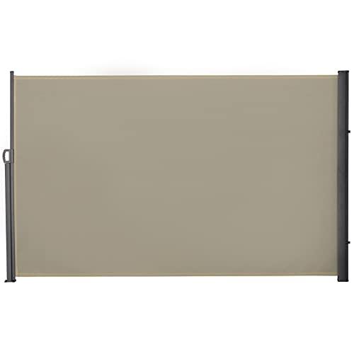 Outsunny Store latéral Brise-Vue paravent rétractable dim. 3L x 1,8H m alu. Polyester imperméable Anti-UV Haute densité 180 g/m² crème