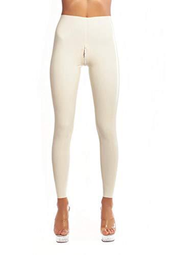 Erotische UnterwäscheLatexgamaschen mit Schrittreißverschluss Latex Lange enge Hose Strumpfhose Gummi Latexhose-Pink_XL_Other