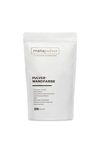 Metapulver Wandfarbe weiß für Innen (610 Gramm matt, ergibt 1L für 6-10 m2) | Pulver- Innenfarbe mit besonders hoher Deckkraft (zum Anrühren mit Wasser) – Made in Germany (610, weiß)