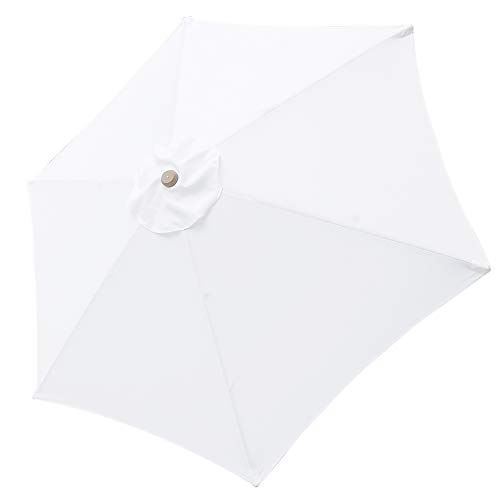 Yescom 9ft Outdoor Umbrella Replacement Top Patio Umbrella Market Umbrella Replacement Canopy with 6 Ribs White