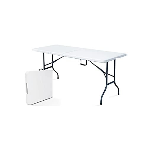 Rekkem Table de Pique Nique Pliante Blanc Rectangulaire 180 x 75 x 74 cm...