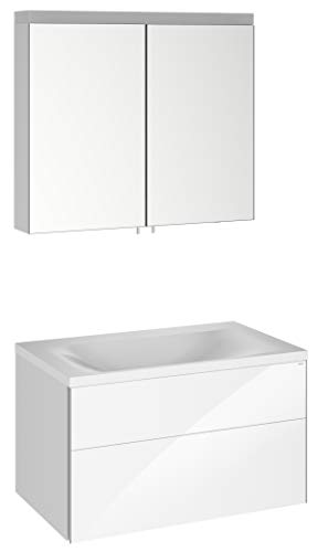 Keuco Badmöbel-Set mit Waschtisch, Waschtisch-Unterbau mit Frontauszug, LED Spiegel-Schrank dimmbar, mit 2 Türen, Breite 80 cm Royal Reflex