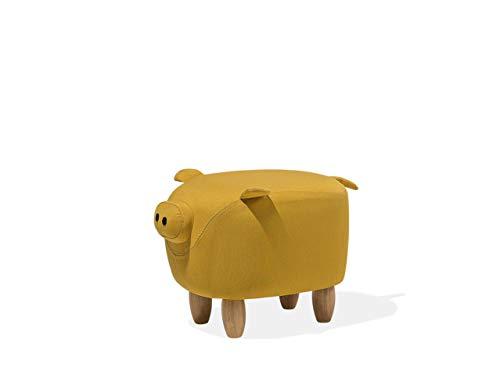 Beliani Pouf in Tessuto Giallo Piggy