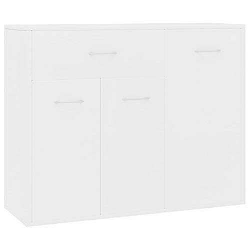 Goliraya Aparador de Aglomerado Aparador para Salón Comedor con 1 Cajón y 3 Puertas Blanco 88x30x70 cm