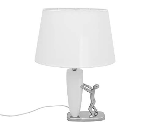 Brillibrum Design Deko Tischlampe mit Keramik Figur Silber Lampe Weiß E27 weißer Lampenschirm oval max 60 Watt