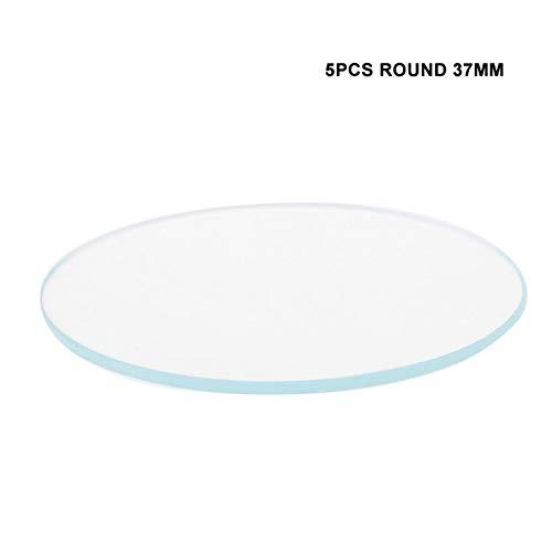 Watch Glas, Flat Watch Glass 5PCS Redondo 37/38 / 39MM Reloj plano Lente de cristal Piezas de repuesto de vidrio Herramienta de reparación de piezas de reloj Herramienta para reparación pantalla (#3)