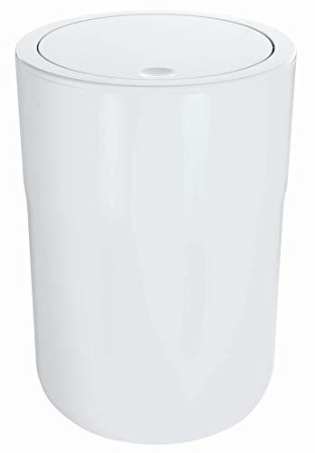 Spirella Design Kosmetikeimer Cocco mit Extra Ring für Müllbeutel Treteimer Schwingdeckeleimer Abfallbehälter mit Schwingdeckel 5 Liter (ØxH): 19 x 26 cm Weiß