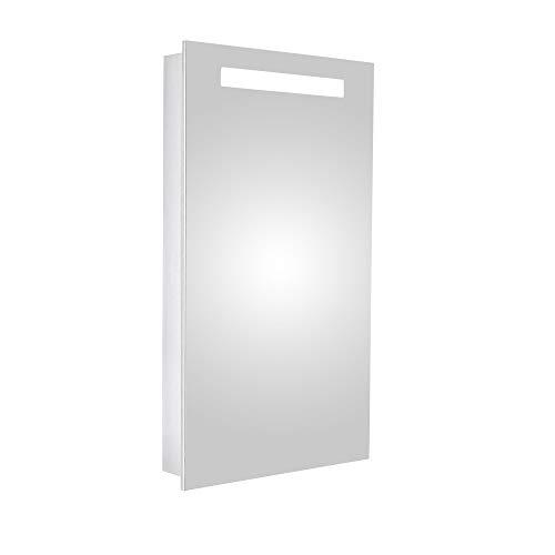 HAPA Design Spiegelschrank San Marino Aluminium Superflach mit LED Beleuchtung, Steckdose und verstellbaren Glasablagen, Türanschlag Links (40 x 70 x 10 cm Scharnier Links)