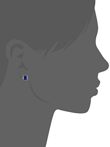 Created Sapphire Jubilee Cut Stud Earrings with Crown Setting in Sterling Silver (7mm)