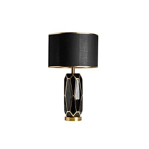 SNDJBD Lámparas De Mesa Creativa Moderna, Cerámica con Lámparas De Escritorio De Patrón De Diamante con Estilo Y Cálido Dormitorio De Noche Corredor Y Salón Lámparass Decorativas E27(Color:Negro)