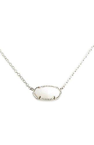 VintFlea Kendra Scott Signature Elisa - Collar con Colgante, Color Blanco y Plateado