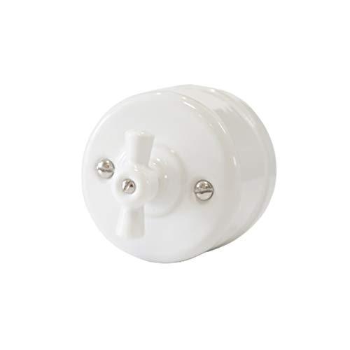 Jgzwlkj Interruptor Giratorio Interruptor de luz de Porcelana Vintage Rotary con función de conmutador Interruptor de Cambio Selector Giratorio (Color : White, Number of Gangs : 1 Gang)