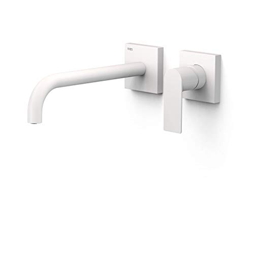 Grifo monomando empotrado para lavabo, gama Loft-Colors, con amortiguadores acústicos y caño de 240 milímetros, 31,4 x 19,4 x 7,4 centímetros, acabado blanco mate (referencia: 20030002BM)